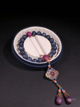 A Chinese Sapphire Hand String,Qing Dynasty