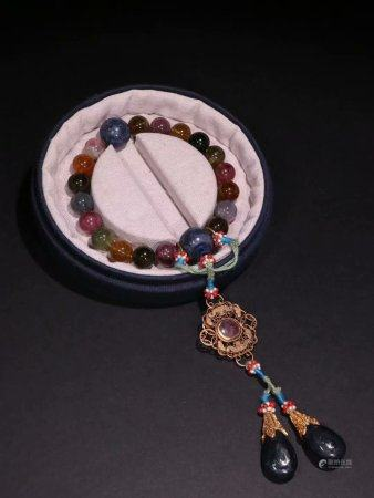 A Chinese Tourmaline Hand String,Qing Dynasty