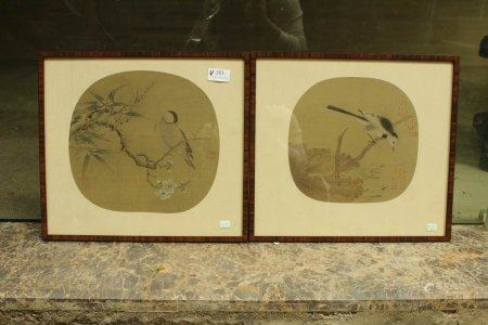 A Pair Of Two Chinese Silk Paintings,Qing Dynasty