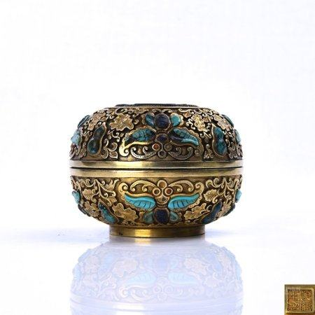 A Chinese Gilt Silver Gems-Inlaid Box