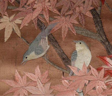 "A Chinese ""Maple And Bird"" Embroidery,Republic Period"