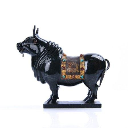 "A Chinese Jasper Inlaid With Gemstone ""Cattle""Decoration"