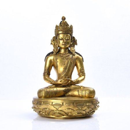 A Chinese Gilt Bronze Statue