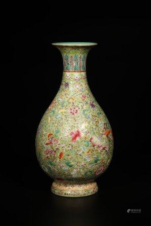 "A Chinese Porcelain ""Lingzhi"" Pear Shaped Vase"