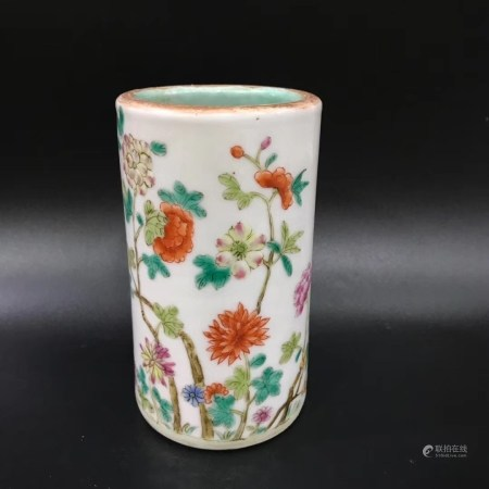 A Chinese Famille Rose Porcelain Brush Pot,Late Qing Dynasty