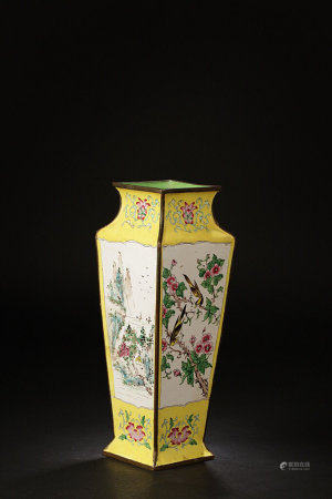 A Chinese Enamelled Bronze-Painted Square Vase