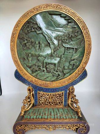 A Chinese Cloisonne Gems-Inlaid Table Screen