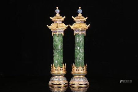 A Pair Of Chinese Cloisonne Inlaid Jade Censers,Qing Dynasty