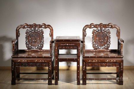 A Set Of Acid Branch Wood Armchairs Set