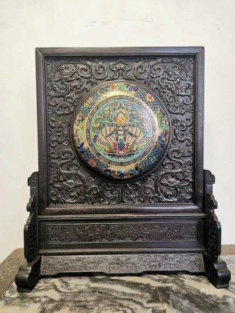 A Chinese Rosewood Inlaid Cloisonne Screen