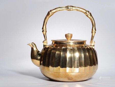 A Chinese Gilt Silver Pot