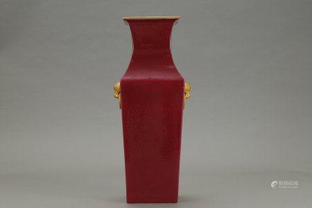 A Chinese Ruby Glazed Porcelain Square Vase