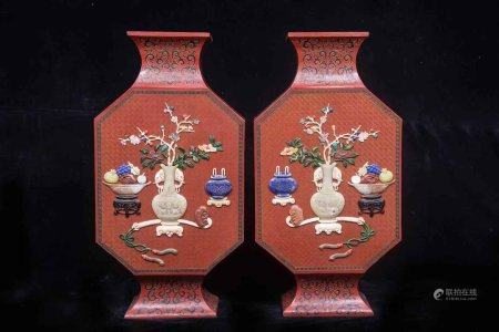 """A Pair Of Chinese Exquisit Red-Lacquer """"Ruyi"""" Vases"""