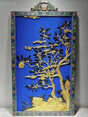 A Chinese Cloisonne Enamel Framed Hanging Screen