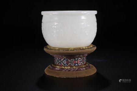 A Chinese Carved Hetian Jade Jar