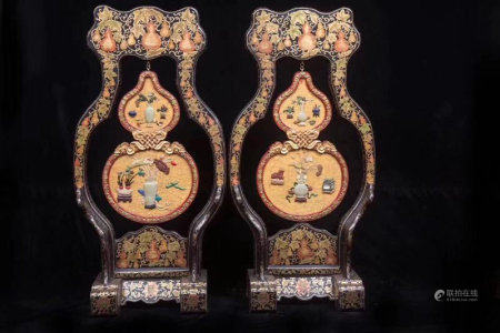 A Pair Of Chinese Court Style Polychrome Screens
