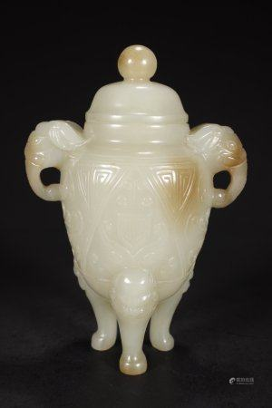 A Chinese Hetian Jade Tripod Covered Censer