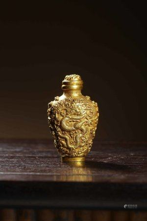 Qing Dynasty Court Style Gold Snuff Bottle