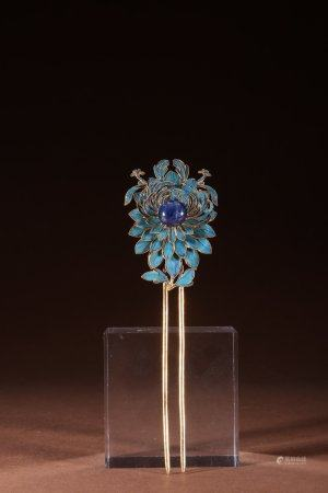 "A Chinese Gilt Silver ""Flower"" Hairpin"