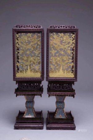 A Pair Of Chinese Rosewood Cloisonne Enamel Lanterns