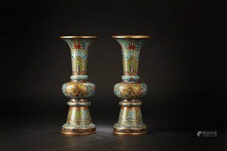 A Pair Of Chinese Gilt Cloisonne Vases,Qing Dynasty