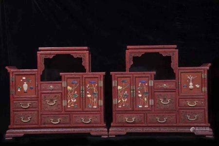 Qing Dynasty Court Style Wood Painted Display Cabinet