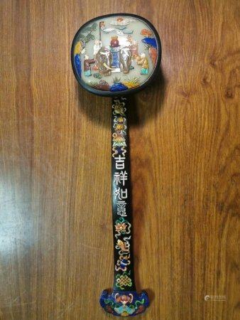 A Chinese Rosewood Inlaid Ruyi Scepter,Qing Dynasty