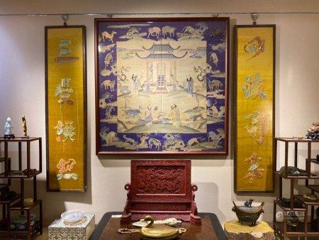 A Chinese Huanghuali Framed Embroidery,Qing Dynasty