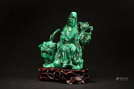 "A Chinese Malachite ""Guanyin"" Decoration,Qing Dynasty"
