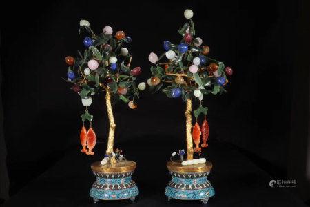 A Pair Of Chinese Enamel Inlaid With Gemstones Jars
