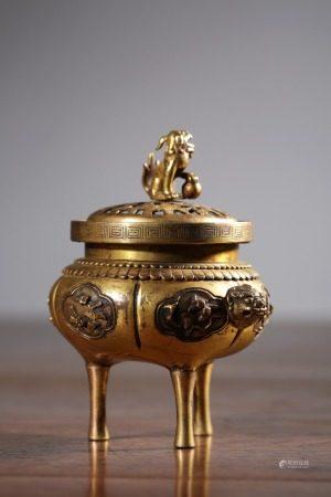 A Chinese Gilt Bronze Tripod Censer,Qing Dynasty