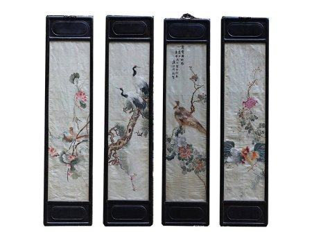 Qing Dynasty Acid Branch Framed Su-Style Embroidered Four Screens