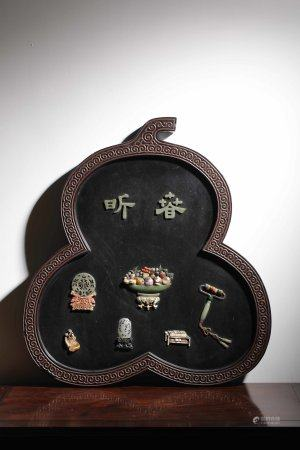A Chinese Black Lacquer Gens-Inlaid Screen
