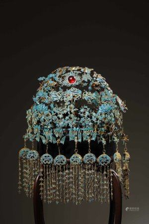 A Chinese Gilt-Silver Emerald Phoenix Crown,Qing Dynasty
