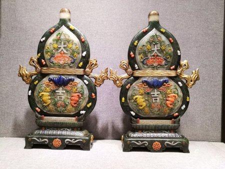 A Pair Of Imperial Hetian Jade Inlaid Screens,Qing Dynasty