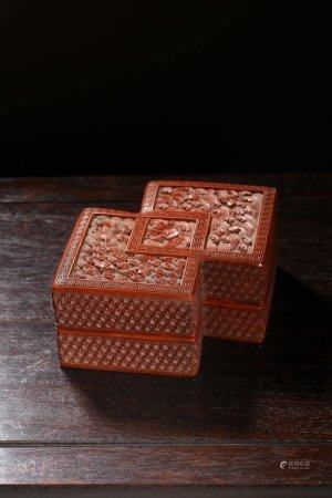 A Chinese Tixi Lacquer Covered Boxes,Qianglong Period