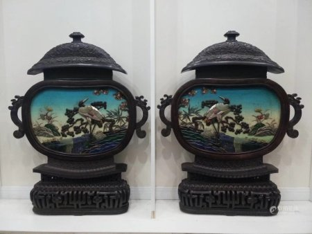"""A Pair Of """"Pine And Crane"""" Mirrors,Qing Dynasty"""