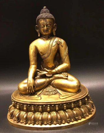 A Chinese Gilt Bronze Statue,Yuan Dynasty