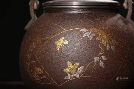 Showa Period Fine Silver-Coated Iron Pot