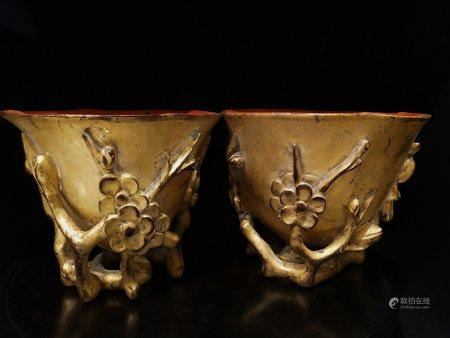 A Pair Of Chinese Gold-Lacquer Rosewood Cups