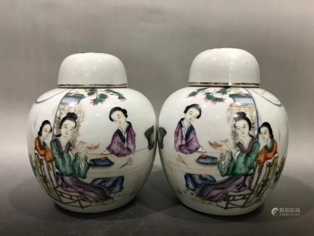 A Pair Of Chinese Famille Rose Porcelain Pots,Republic Period