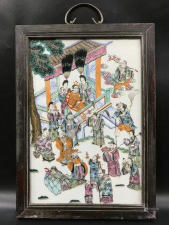 A Chinese Famille Rose Porcelain Plaque,Tongzhi Period