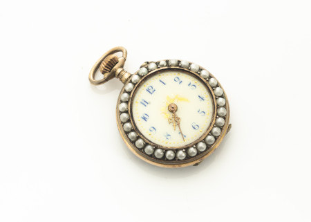 An early 20th Century silver gilt and enamel seed pearl open faced lady's fob watch, the cream