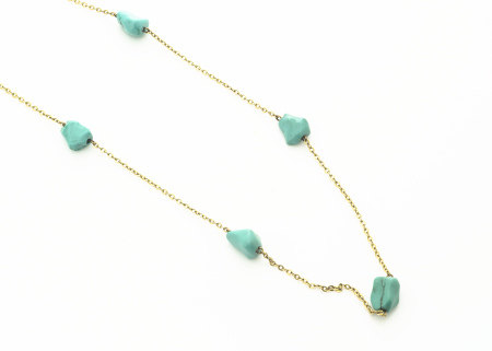 A continental yellow metal and turquoise necklace, the turquoise rough polished beads alternately