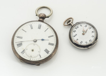A continental lady's open faced fob watch, the white face with black Arabic Numerals with