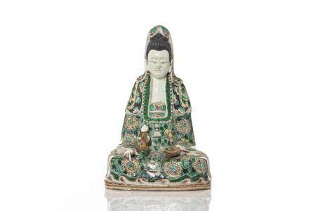 CHINESE FAMILLE VERTE BISCUIT PORCELAIN GUANYIN