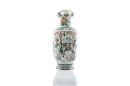 CHINESE FAMILLE VERTE PORCELAIN GARLIC MOUTH VASE