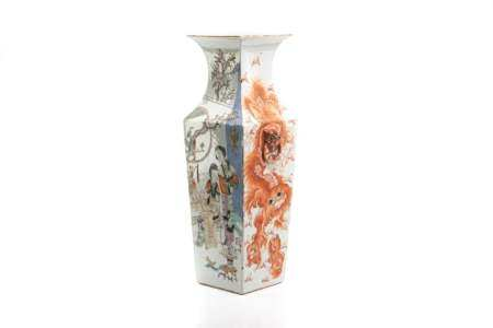 CHINESE IRON RED & QIANJIANG PORCELAIN SQUARE VASE