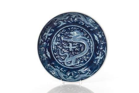 CHINESE BLUE GROUND PORCELAIN DRAGON DISH
