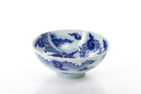 CHINESE BLUE & WHITE PORCELAIN DRAGON BOWL